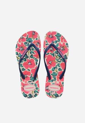 Havaianas Slim Floral Sandals & Flip Flops Pink, Navy & White