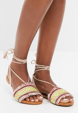 Missguided Aztec Print Ankle Tie Sandal Green