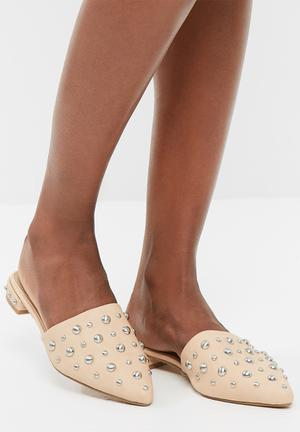 Missguided Studded Slider Pumps & Flats Nude