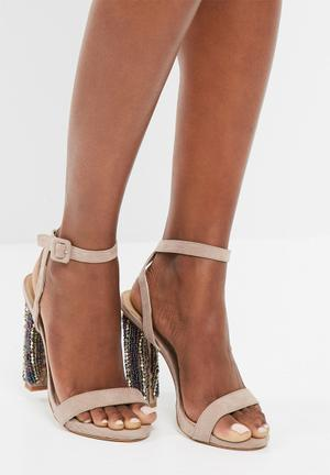 Missguided Beaded Block Heel Nude