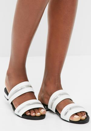 Missguided Zip Trim Sandal White