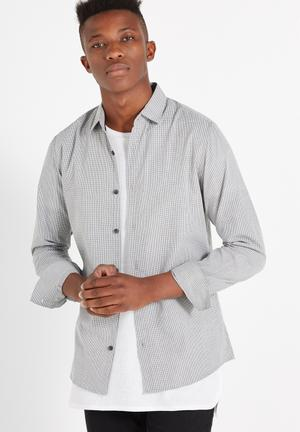 Cotton On Slim Smart Shirt Grey & White