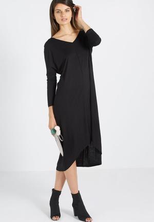 8d4a23f611549 Amber v neck high low t-shirt dress