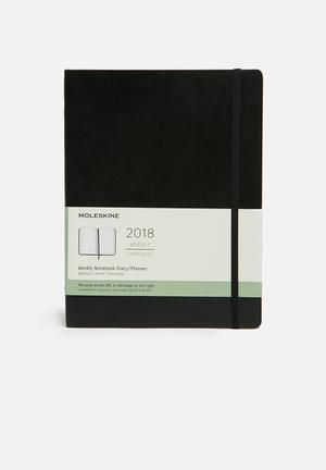 Moleskine 2018 A4 Softcover Weekly Notebook Gifting & Stationery Black