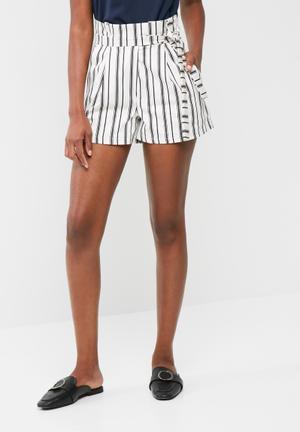 Dailyfriday Paperbag Waist Shorts White & Navy