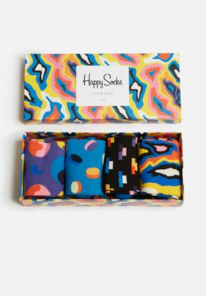 Happy Socks Pop Gift Box Socks Blue, Purple & Black
