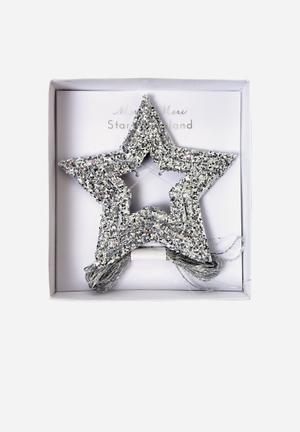 Silver stars mini garland