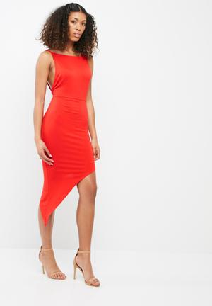 Missguided Jersey Asymmetric Hem Bodycon Formal Orange