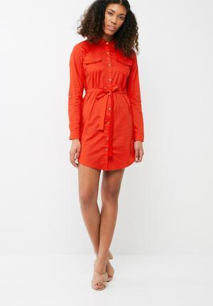 Dailyfriday Poplin Shirt Dress With Self Fabric Tie Belt Formal Red