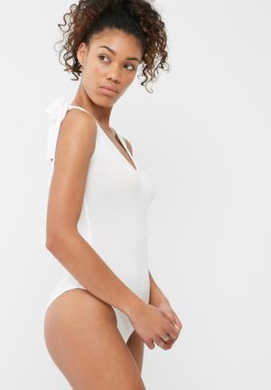 Dailyfriday Tie Shoulder Bodysuit T-Shirts, Vests & Camis White