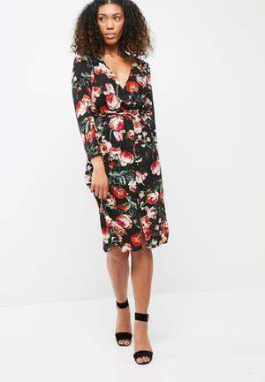 Missguided Plunge V Wrap Red Floral Midi Dress Formal Black & Red