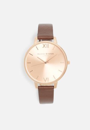 Olivia Burton Big Dial Watches Rose Gold With Brown Band