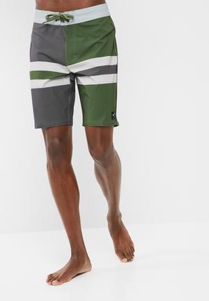 Vans Black Stripe Swimshort Swimwear Green, Grey & White