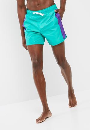 Basicthread Colour Block Swimshort Swimwear Green & Purple