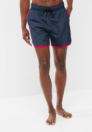 Basicthread Contrast Piping Swimshort Swimwear Navy & Red