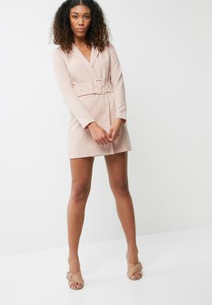 Missguided Belted Tailored Bodycon Dress Formal Pale Pink