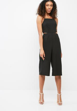 Missguided Tie Back Culotte Jumpsuit Black