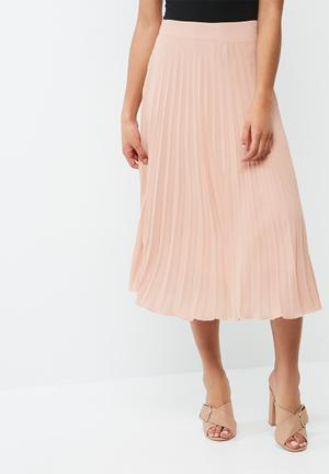 Dailyfriday Pleated Midi Skirt Pale Pink