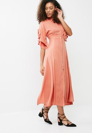 Dailyfriday Button Through Midi Dress With Frill Sleeve Casual Clay