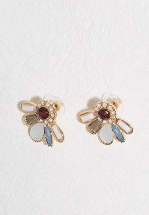 Miss Maxi Jewelled Studs Jewellery Red, White, Blue & Grey