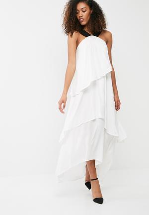 Dailyfriday Tiered Hanky Hem Maxi Dress Casual White & Black