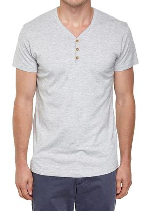 Cotton On Essential Henley Tee T-Shirts & Vests Grey