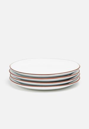 Urchin Art Terracotta Edge Side Plate Set Of 4 Dining & Napery White Glaze With Terracotta Edge