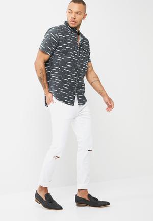 Basicthread Skinny Fit Knee Rip Jeans White