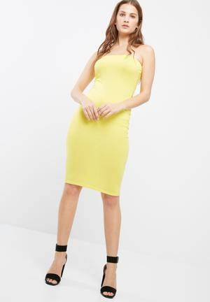 Missguided Bandeau Bodycon Midi Dress Occasion Yellow