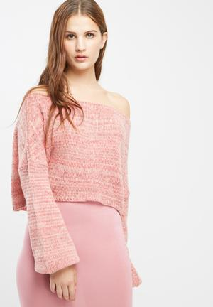 Missguided Off Shoulder Balloon Sleeve Cropped Jumper Knitwear Pink