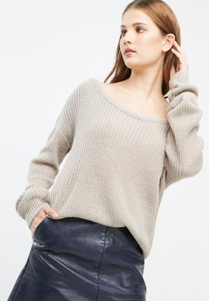Missguided Off Shoulder Knitted Jumper Knitwear Brown
