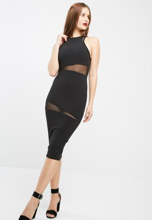 Missguided Round Neck Mesh Insert Midi Dress Formal Black