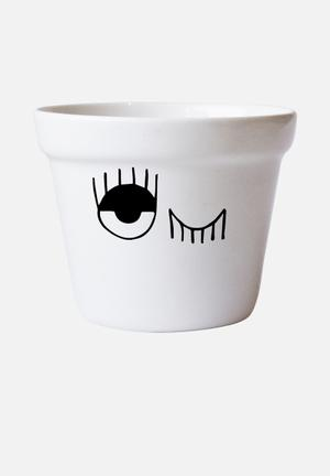 Sugar & Vice Winking Eyes Flower Pot Accessories Ceramic