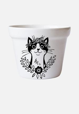 Sugar & Vice Bohemian Cat Flower Pot Accessories Ceramic