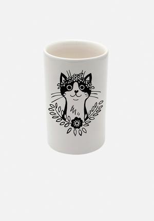 Sugar & Vice Bohemian Cat Tumbler Bath Accessories Handmade Ceramic