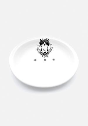 Sugar & Vice Bohemian Cat Soap Dish Bath Accessories Handmade Ceramic