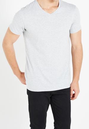 Cotton On Essential Vee Neck Tee T-Shirts & Vests Grey Melange