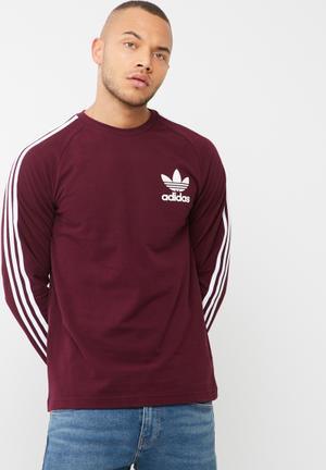 Adidas Originals Clfn Pique Tee T-Shirts Maroon & White