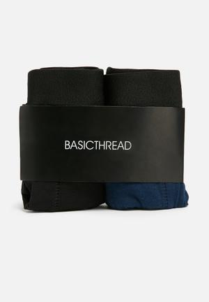 Basicthread 2pk Boxer Underwear Navy & Black