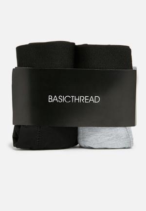 Basicthread 2pk Boxer Underwear Grey & Black