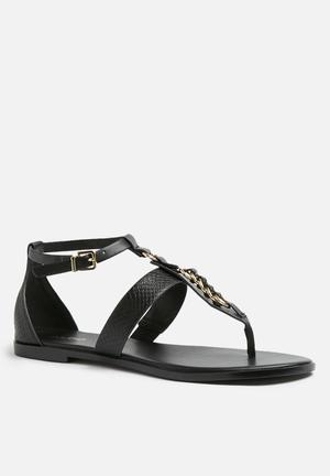 ALDO Keyma Sandals & Flip Flops Black & Gold