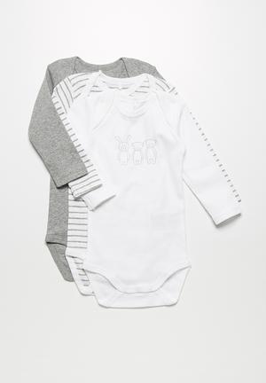 Name It 3-Pack Babygrows Grey & White