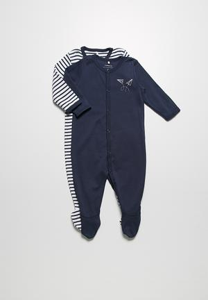 Name It 2-Pack Sleepsuit Navy & White