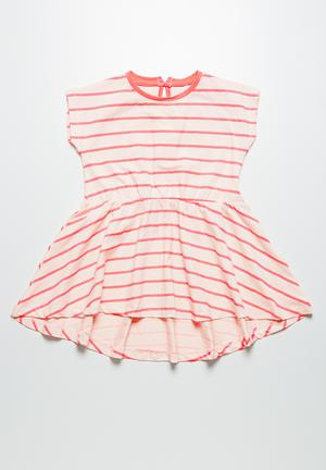 Name It Ditte Stripe Dress Pink & Neon Pink