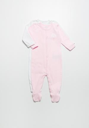 Name It 2-Pack Sleepsuit Pink & White