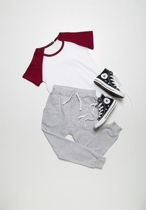 Basicthread 2-Pack Baseball Tees Tops Grey & Maroon With White