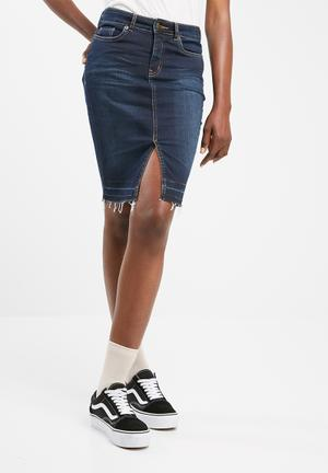Dailyfriday Freyed Hem Denim Skirt Blue