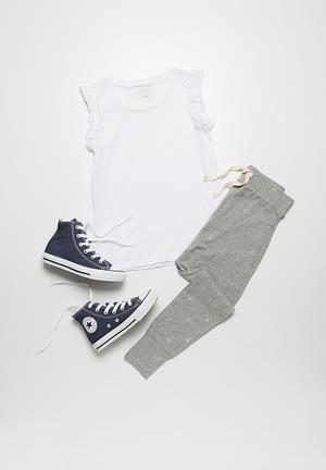 Dailyfriday Shimmer Printed Joggers Pants & Jeans Grey Melange