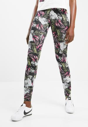Jacqueline De Yong Edelweiss Leggings Trousers Black, Pink & Green