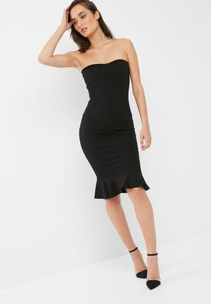 Missguided Bandeau Flippy Hem Midi Dress Casual Black